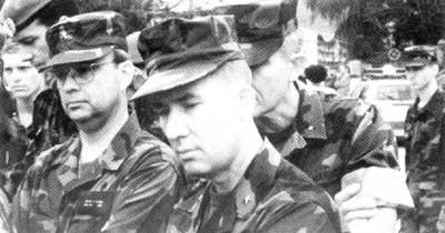 Brigadier Gen. Michael Hayden US Marine Corps Gen. David Mize and US Marine Corps Lt. Gen. Edward Hanlon Jr. in Gornji Vakuf, Bosnia,